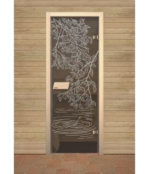 """Дверь для сауны Narvia Серое """"Береза"""""""
