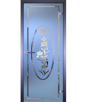 Стеклянная дверь АКМА MIRRA 0006 ЦВЕТЫ В КРУГЕ