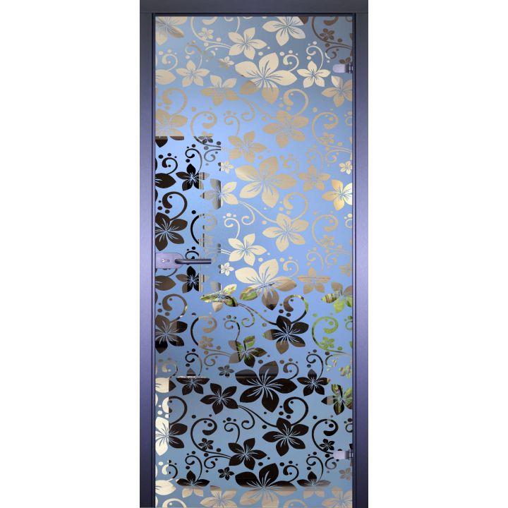 Стеклянная дверь АКМА MIRRA 0069 ОБОИ-ЦВЕТЫ