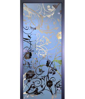 Стеклянная дверь АКМА MIRRA 0072 ЦВЕТЫ-ЗАВИВКИ